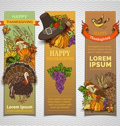 Thanksgiving vertical banners set vector
