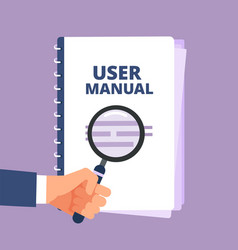 User manual with magnifying glass user guide vector