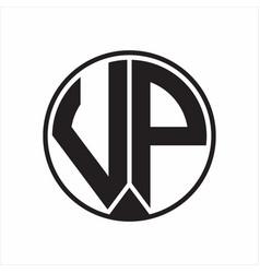 Vp logo monogram circle with piece ribbon style vector
