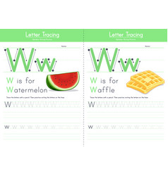 W for watermelon and w for waffle vector
