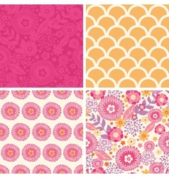 Warm summer plants set of four matching vector