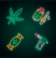 Weed products neon light icons set cannabis vector