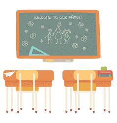 Welcome to school blackboard with desk classroom vector