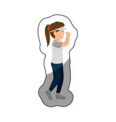 Woman athlete running avatar character vector
