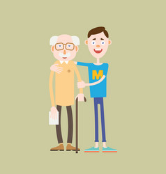 young boy helps an old man vector image