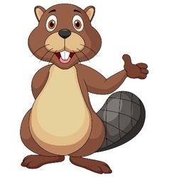 Cute beaver cartoon waving hand vector