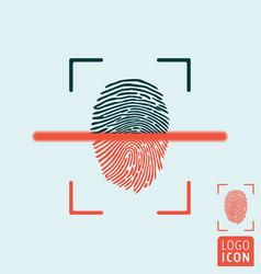fingerprint scanning icon vector image