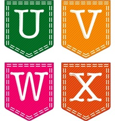 Four Letters U V W X vector image vector image