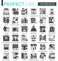 household classic black mini concept symbols home vector image vector image