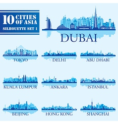 Silhouette city set of asia 1 vector