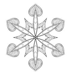 zentangle elegant snow flake mandala for adult vector image vector image
