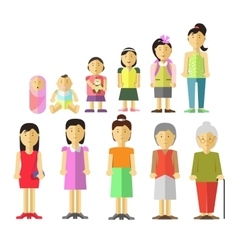 Aging concept of female characters vector image