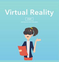 busineswomen use virtual reality web page concept vector image