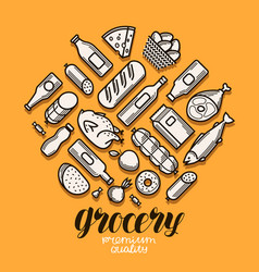 food and drinks icons set grocery store banner vector image