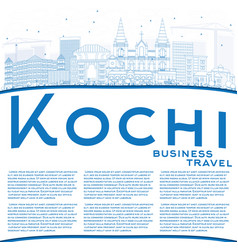 outline kochi skyline with blue buildings and vector image