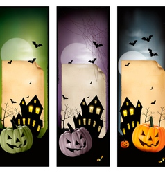 Set of holiday Halloween banners vector image