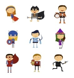 Set of Super Heroes Man and Woman vector image