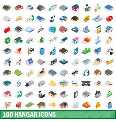 100 hangar icons set isometric 3d style vector image