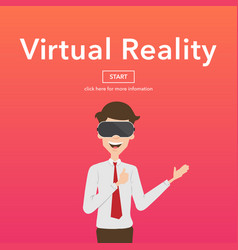 Businessman use virtual reality web page concept vector