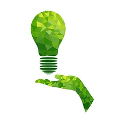 Ecology concept lamp and hand geometric vector image vector image