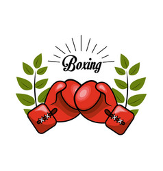 Emblem boxing game icon vector