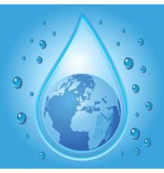 globe inside water drop vector image vector image