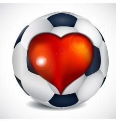 Heart and football ball vector image vector image