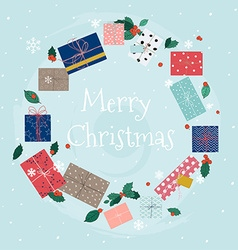 Merry Christmas greeting cards Wreath of colorful vector image vector image