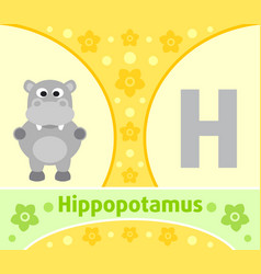 the english alphabet with hippopotamus vector image vector image