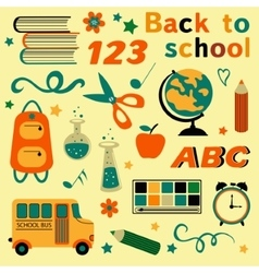 Back to school colorful collection vector image