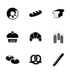 black bakery icons set vector image
