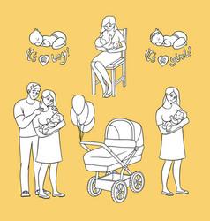 Flat newborn baby symbols for coloring book vector