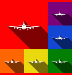 flying plane sign front view set of vector image
