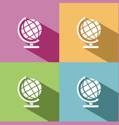globe icon with shade on colored background vector image