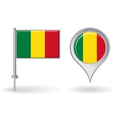 Malian pin icon and map pointer flag vector image