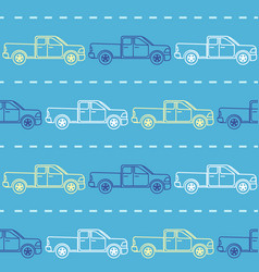 striped seamless pattern with pickup trucks vector image vector image