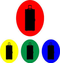 Suitcase on wheels icon set vector image