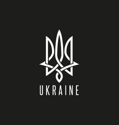 trident logo mockup monogram weaving lines emblem vector image