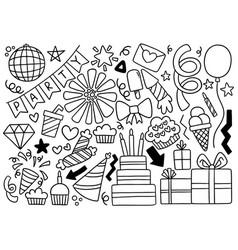 0101 hand drawn party doodle happy birthday vector