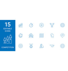 15 competition icons vector image