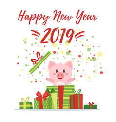 2019 new yea christmas greeting card vector