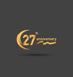 27 years anniversary logotype with double swoosh vector