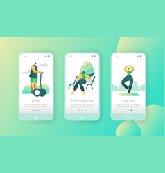 active weekend lifestyle mobile app onboard screen vector image