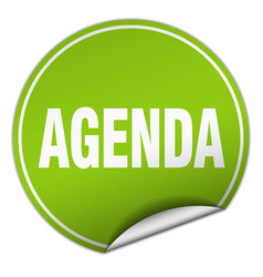 Agenda round green sticker isolated on white vector