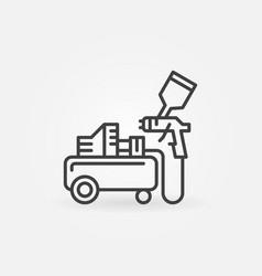 Air compressor with spray gun outline icon vector
