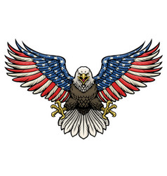 American flag painted bald eagle vector