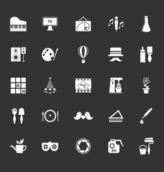 Art activity icons on gray background vector image