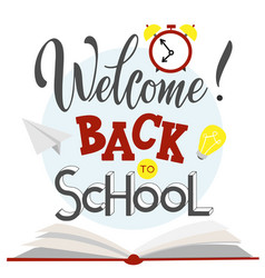 back to school hand drawn lettering vector image