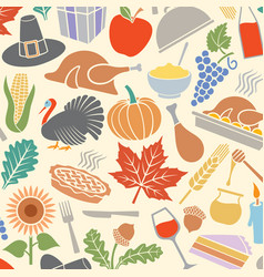 background pattern with thanksgiving day icons vector image