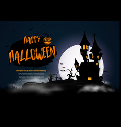 Background with on a haunted house for halloween vector